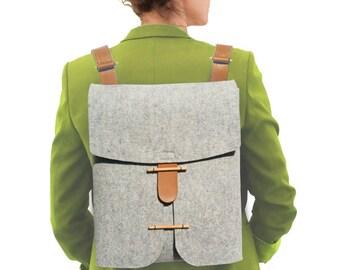 NEW - Felt Backpack with leather straps   100% merino wool  Felt Bag for  woman  Designer Felt Bag  Laptop Felt Bag Handmade 1f6df2139e96c