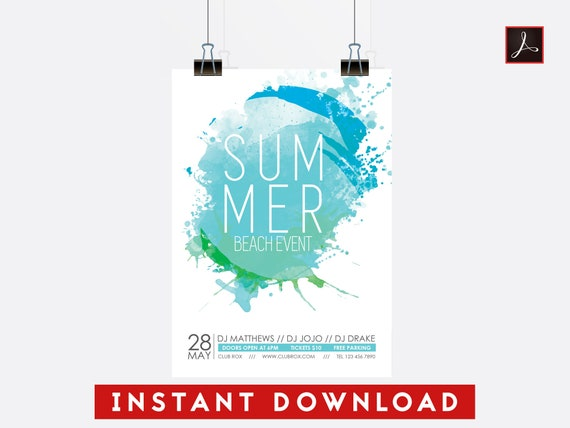 5x7 Summer Beach Event Flyer Template Editable Pdf Template Etsy