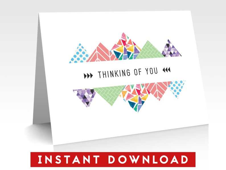 graphic regarding Printable Thinking of You Card identify Printable Wanting to know of Your self Card, Quick Down load, PDF Structure, Electronic Down load, Greeting Card, Electronic Card, Triangle, Summary