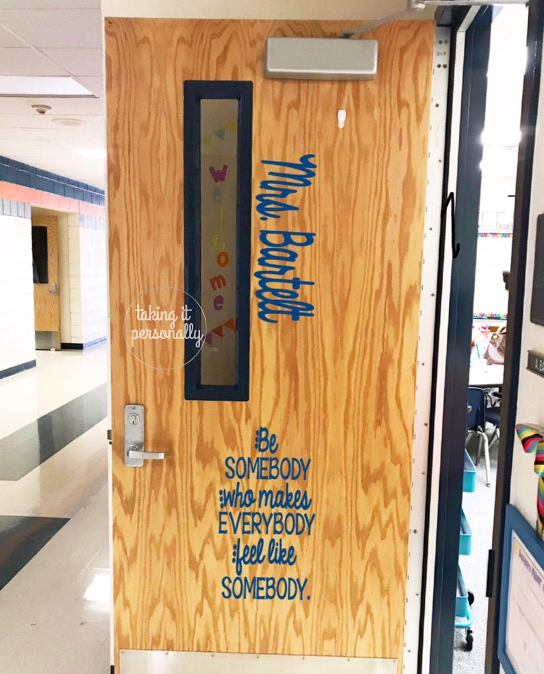 Grade and Name Included Vinyl Personalized Teacher Name Decal Removable Classroom Door Decal