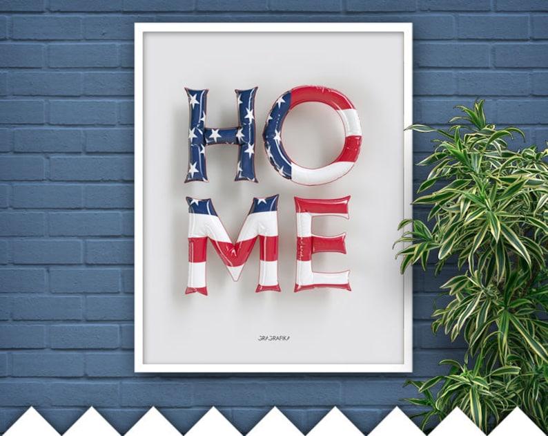 Patriotic Wall Decor USA Flag Art Home Printable