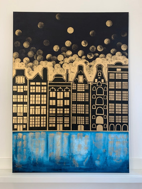 Amsterdam painting painted on canvas by acrylic