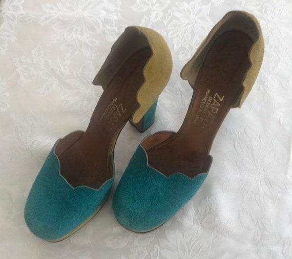 Vintage Manolo Blahnik suede platform shoes