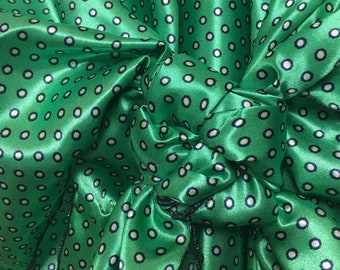 Small Navy lined White Polka Dots on Green