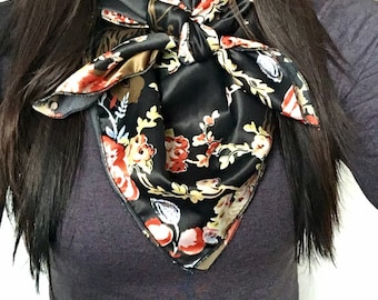Wild Multi colored Floral on Black