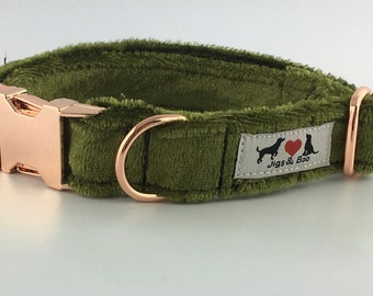 Luxury Olive Green Velvet Dog Collar with choice of buckle type