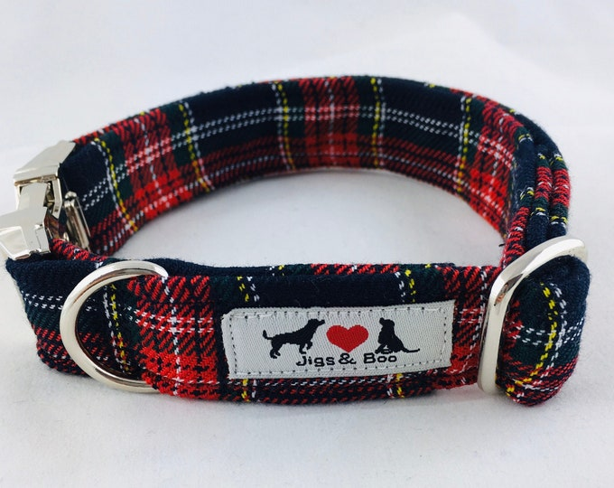 Featured listing image: Stylish Stewart Black Modern Tartan Dog Collar with choice of buckle