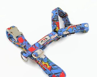 Comic Book Dog Harness with Nickel plated buckle - Chest and back clips to aid training