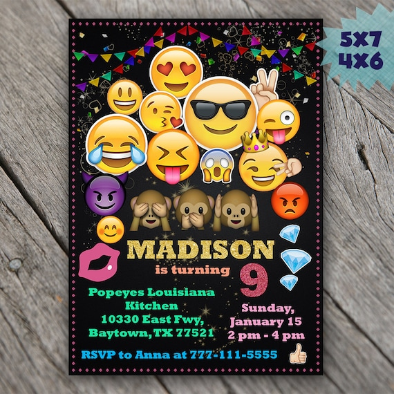 emoji invitations emoji birthday invitations emoji party etsy