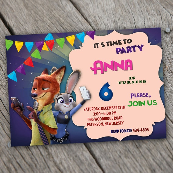 Zootopia Invitation Zootopia Birthday Invitation Zootopia Etsy