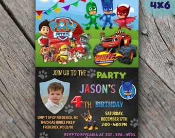 Paw Patrol Invitation PJ Masks Invitation Blaze and the Monster Machines Invitation Birthday Party Invitations Tickets Invites Card Supplies