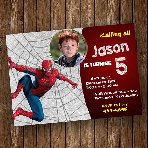 Spiderman Invitation Spider Man Invitation Spiderman Birthday Etsy