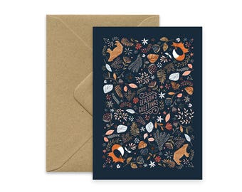 Season's greetings - Fox & Bear - folded Card A6