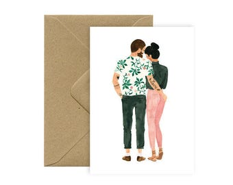 Card A6 - LOVE tattoo - hipsters