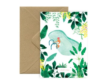 Card A6 - Swimming pool - Chill time