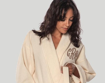 Luxurious 100% Turkish Cotton Spa Robe. Diamond Waffle Weave   Terry Bath  Robe - Super Soft!! c31201910