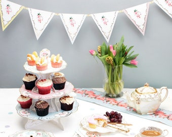 floral bunting afternoon tea theme perfect for high tea baby shower hen party birthday party bridal shower