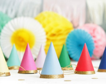 Mini Party Hats Pack Of 8 Gold Glitter Trim Colourful Birthday Multicoloured First Childrens