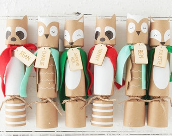 woodland crackers 6 pack personalised woodland animal christmas crackers with personalized tags fox owl novelty christmas crackers
