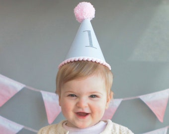 Babys First Birthday Pastel Hat With Colourful Woollen Pom And Trim 1st Personalised Personalized Cake Smash