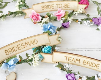Personalised Flower Crown Bride To Be Maid Of Honour Bridesmaid Hen Do Hen Party Bridal Shower Hen Party Accessories