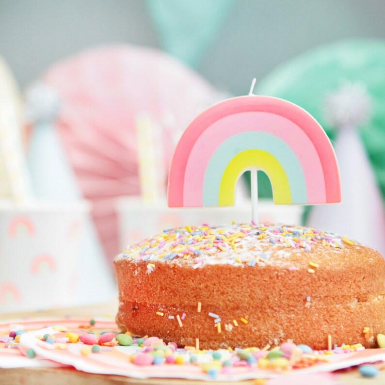 Neon Rainbow Candle Theme Birthday Party Unicorn