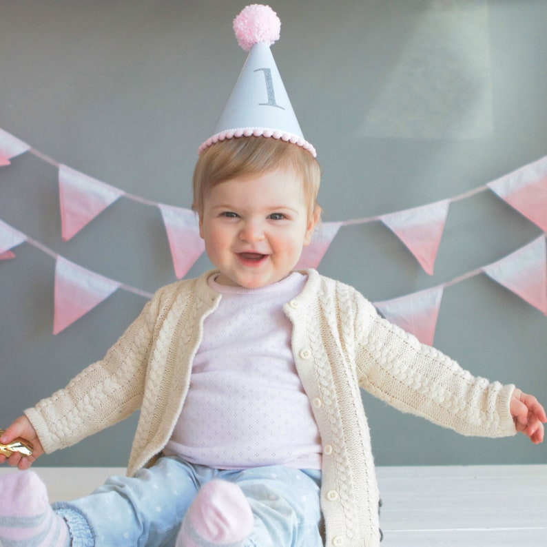 Babys First Birthday Pastel Hat With Colourful Woollen