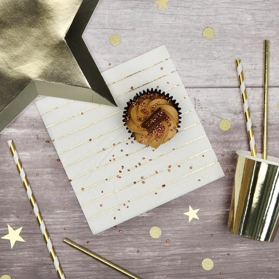 16 x Iridescent Metallic Foil Stripe Paper Napkins Party Napkins