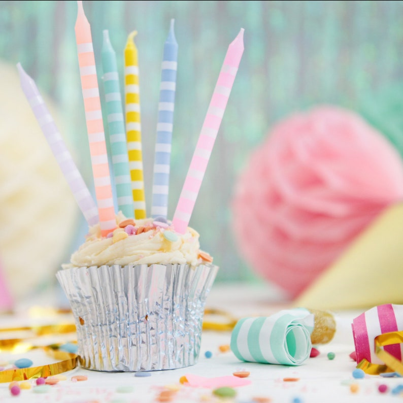 Tall Pastel Candles 24 Pack Unicorn Theme Birthday
