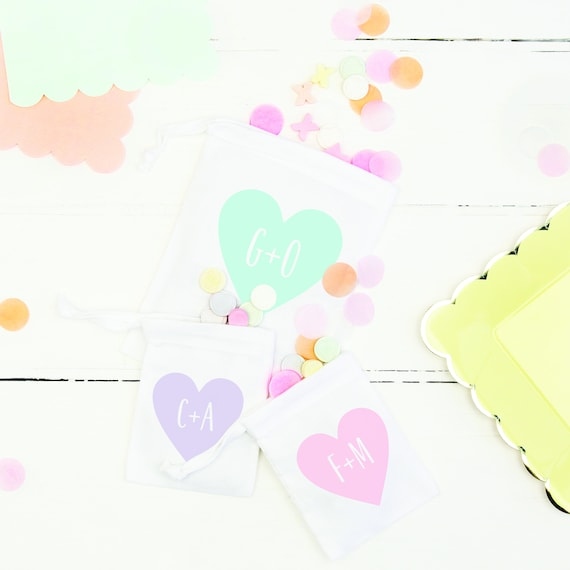 Anniversary Gift Bag Pastel Heart Wedding Valentine