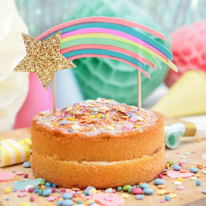 Rainbow Party Shooting Star Cake Topper Unicorn Theme