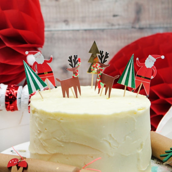 Christmas Cake Toppers Pack Of 24 Festive Cake Decorations Etsy
