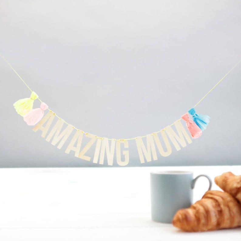 Mother/'s Birthday Decor Mother/'s Gift Ideas New Mum Gift Ideas For Mum Party Decor Baby Shower Garland Wooden Garland Amazing Mum Garland