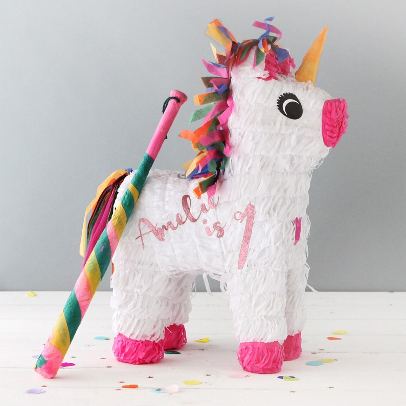 Personalised Unicorn Theme Pinata - Personalized Unicorn Party Decorations  First Birthday Children's Party Games Rainbow Party
