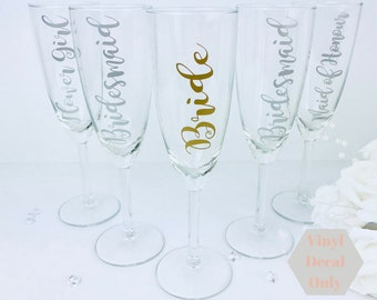 VINYL DECAL ONLY, diy bridal champagne glass vinyl, Bridesmaid champagne flute vinyl, drinking glass vinyl for, personalised glass vinyl