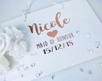Rose gold bridal gift bag, personalised bridal bag, small bridesmaid gift bag, maid of honour gift bag, gift bag, bridal party present bag
