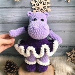 behemoth stuffed hippo handmade hippo toy crocheted Hippo knitted gift for baby soft hippopotamus amigurumi animal plush toy knitted hippo