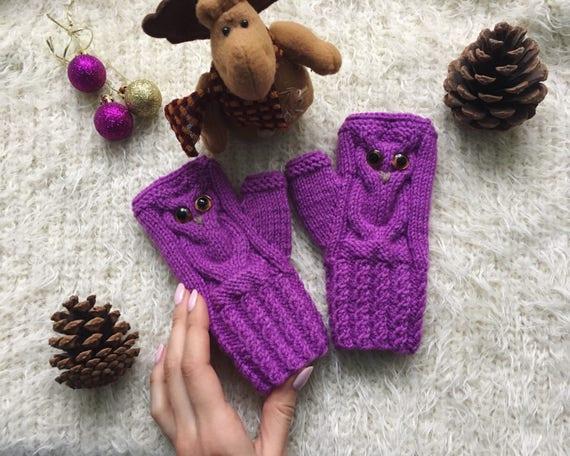 Owl gifts Owl fingerless mittens for toddler Fingerless gloves for girl knit mittens Wool owl lovers gift for boy Knitted warm fingerless