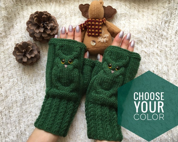 Owl fingerless mittens woman Wool owl lovers gift Fingerless gloves mitts for girl knit mittens Warm mitts Knitted warm fingerless Owl gifts
