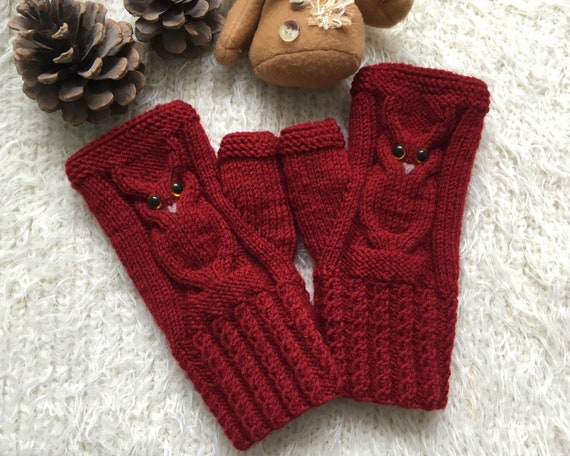 Valentines gift for owl lovers Knit fingerless gloves Owl gifts for women mittens winter mitts for girl Wool Warm animal mittens