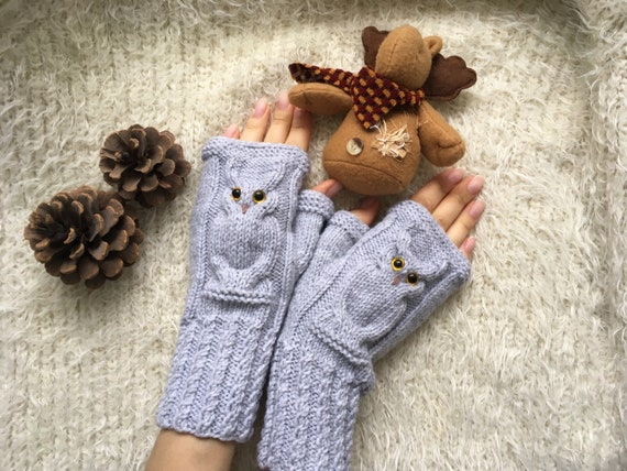 Knit fingerless gloves Owl gifts for women mittens Christmas gift for owl lovers winter mitts for girl Wool Warm animal mittens