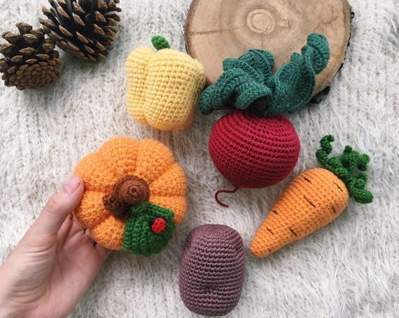 Crochet vegetables Amigurumi food toddler Play kitchen Knit toy set  Montessori baby toy 1 year old gift Crochet Vegan baby gift