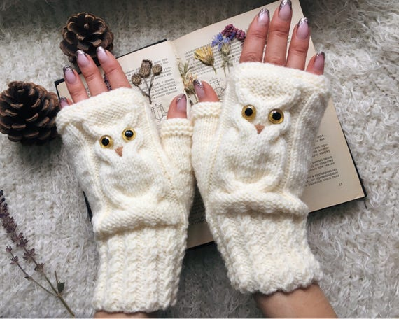 Owl gifts Owl fingerless mittens woman Fingerless gloves mitts for girl knit mittens Wool owl lovers gift Warm mitts Knitted warm fingerless