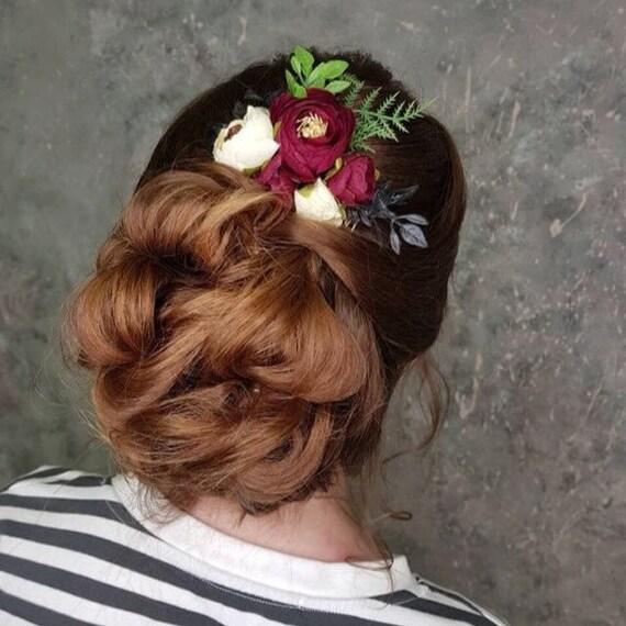 Peigne à cheveux floral bal corsages Bordeaux peigne corsage Bordeaux postiche mariée demoiselle d'honneur corsage Marsala mariage floral peigne à cheveux fleur