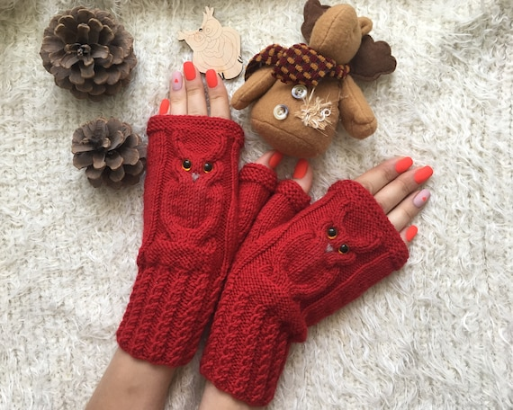 Christmas Animal mittens Owl lovers gift Owl fingerless mittens woman Wool gloves mitts for girl knit Owl gifts Warm present for sister