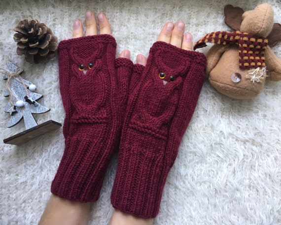 Fingerless gloves Owl fingerless mittens woman Owl gifts knit mittens Wool owl lovers gift Warm mitts for girl Knitted warm fingerless