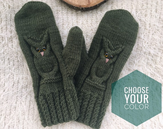 Knit mittens for women owl lovers gift for friend Winter knit gloves Wool mitts birthday gift for sister Autumn choose your color
