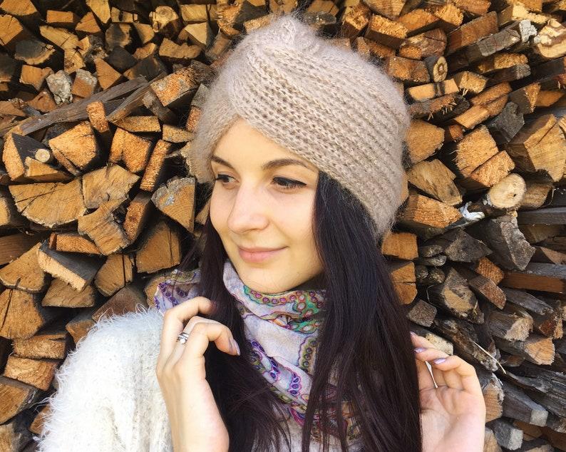 a8e98400e9cd0 Beige Knit Turban Fashion turban Mohair hat Full Turban Hat