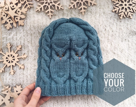 Brown Knit owl hat for women owl lovers gift for friend Winter knit wool hat Christmas gift for daughter