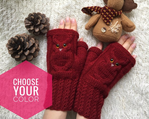 Christmas Wool gloves Mitts for girl Owl lovers gift Animal mittens Owl fingerless mittens woman knit Owl gifts Warm present for sister